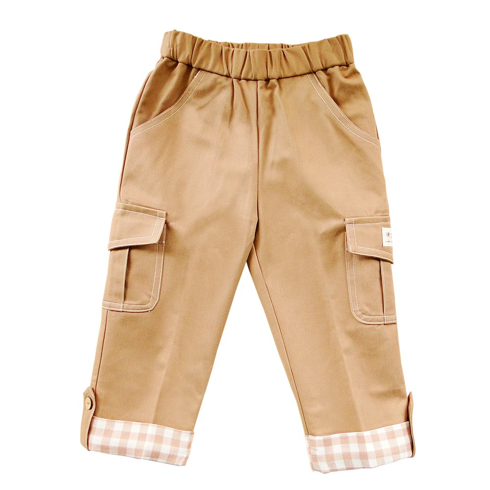 Azure Canvas Organic Cotton Toddler Pull-on Long Pants-Brown