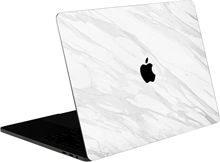 SOJITEK White Marble Stone Texture 4-in-1, Full-Size 360° Protector Skin Decals Sticker MacBook Pro 13 Inch (2016 to 2019 Model with & w/o Touch Bar & ID) A1706 A1708 A1989 Black Keyboard Cover