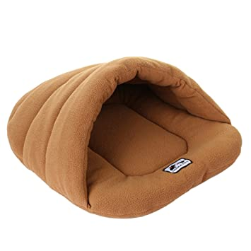 Amazon.com : UEETEK Soft Warm Dog Cat Cave Bed House Cotton Plush Pet Sleeping Bag Size L Light Brown : Pet Supplies