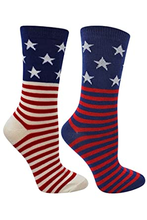 f4a4358b70 Stars & Stripes American Flag Womens 2 Pack Crew Socks: Amazon.co.uk ...