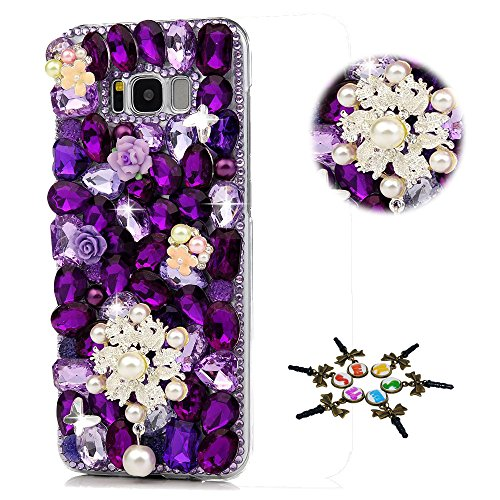 STENES Galaxy S9 Plus Case - Stylish - 100+ Bling - 3D Handmade Pearl Flowers Pendant Butterfly Floral Design Bling Cover Case for Samsung Galaxy S9 Plus - Purple
