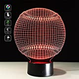 Cheap Deerbird 3D Baseball Shape Visual Illusion USB Battery Powered 7 Color Change Acrylic LED Touch Table Lamp Night Light for Baby Kids Toy Gift