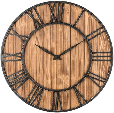 Oldtown Farmhouse Metal Solid Wood Noiseless Wall Clock Wood