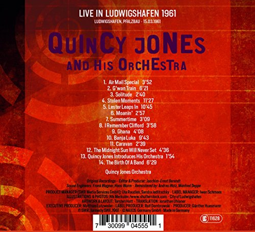 Quincy Jones and His Orchestra - Live in Ludwigshafen 1961 by CD (Image #1)