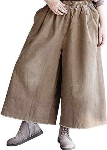 Youlee Mujer Cintura elástica Algodón Pantalones de Pana Pantalon Ancho Style 1 Coffee: Amazon.es: Ropa y accesorios