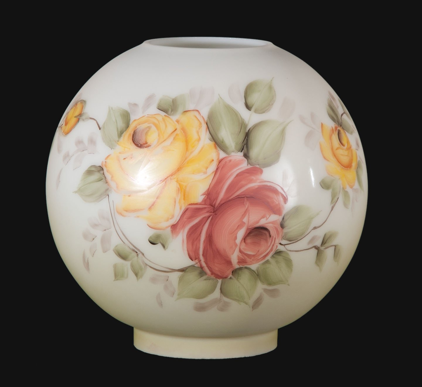 B&P Lamp Hand Painted Opal Ball Shade, Victorian Roses Scene