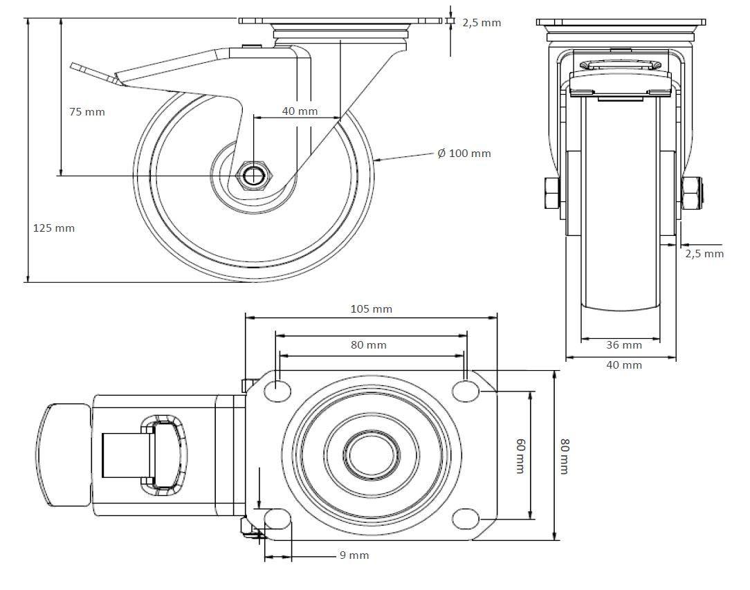 Lenkrolle mit Feststeller 100 mm Polypropylen