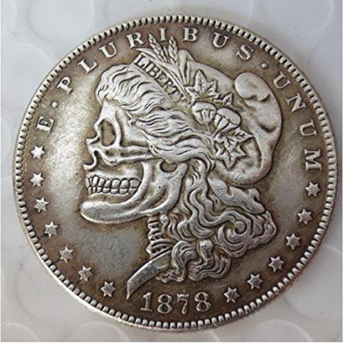- Rare Antique USA United States 1878cc Morgan Dollar Skull Zombie Silver Color Coin