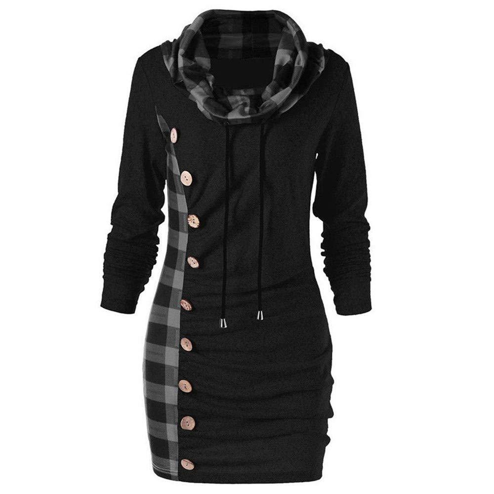 Moda de Mujer Casual a Cuadros Bufanda Escote sección Larga Manga Larga botón de Costura suéter Largo Abrigo Chaqueta de Gran tamaño riou