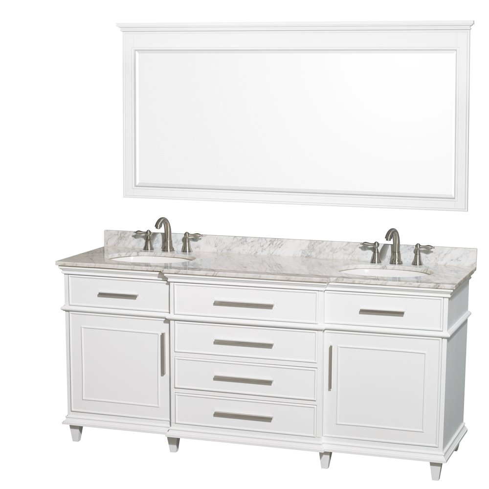 White double bathroom vanity - Wyndham Collection Berkeley 72 Inch Double Bathroom Vanity In White With White Carrera Marble Top With White Undermount Oval Sinks And No Mirror Amazon