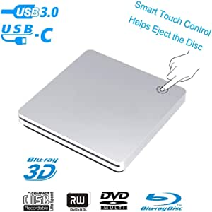 External 3D Blu Ray DVD Drive,USB 3.0 and Type-C Blu Ray DVD Burner Ultra Slim Smart Touch Slot-in BD CD DVD RW Burner Player Writer Compatible with Laptop Desktop MacBook Windows 7 8 10 Mac OS-Silver