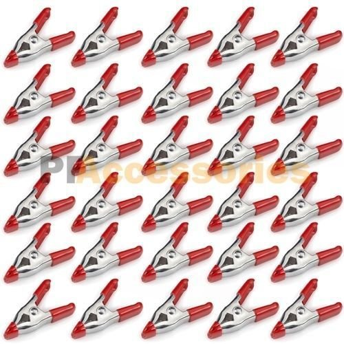 (Ship from USA) 30x 2 inch Mini Metal Spring Clamps w/ Red Rubber Tips Tool LOT of 30 Pcs Pack /ITEM - Inch 2 Wide Springs