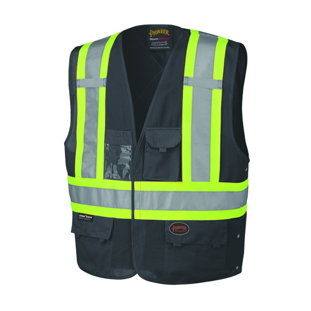 Pioneer V1021570U High Visibility, Reflective Safety Vest, ANSI Class 1, Black (Large/XL)