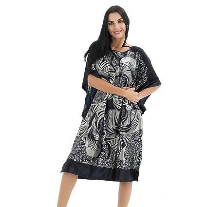 YANXH Albornoz De Seda para Mujer Simplicidad Larga Y Delgada Batas de Dormir Imprimir Pijama Sueltos