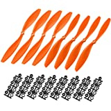 uxcell RC Propellers CW CCW 1045 10x4.5 Inch 2-Vane Fixed-Wing for Airplane Toy, Nylon Orange 4 Pairs with Adapter Rings