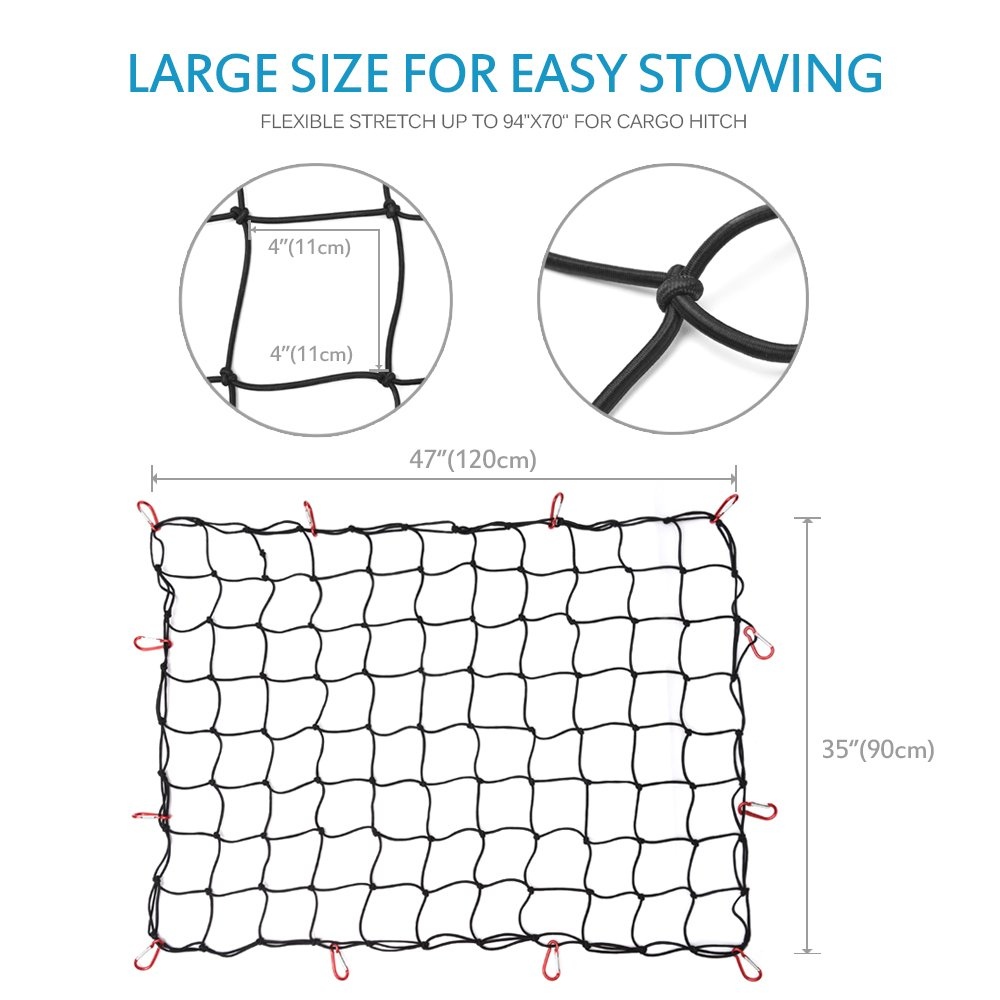 Black Mesh with Free Four Metal Carabiners SUV Pickup Truck Bed Heavy Duty Cargo Net for Car MICTUNING Three Pocket Trunk Cargo Organizer Storage Net