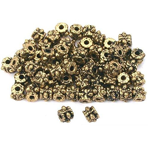 Bali Tube Beads Antique Gold Plated 3.5mm Approx 60Pcs