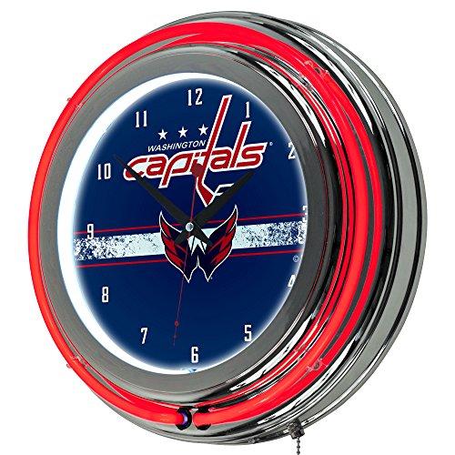 Washington Nationals Clock (Trademark Gameroom NHL Washington Capitals Chrome Double Rung Neon Clock)