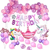 MMTX Unicorn Party Decorations Supplies, 2pcs Huge Unicorn Balloon,Happy Birthday Ballon Banner,4pcs Helium Foil Star,1 Crown and 40pcs Latex Party Ballons for Infant Girl Boy Lady Birthday Party