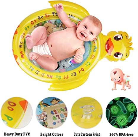 Idefair Estera de juego de agua Tummy Time Amarillo estera de agua para beb/é grande Estera de juego inflable para beb/és Forma de tortuga Juguetes para beb/és reci/én nacidos para 3 6 9 12 meses