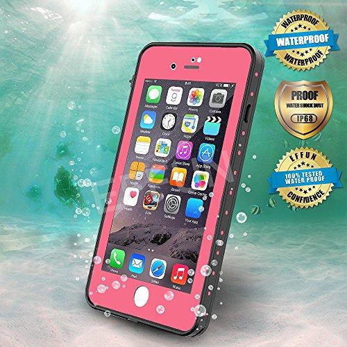 EFFUN iPhone 8 Plus/iPhone 7 Plus Waterproof Case, Dottie Style IP68 Certified Underwater Cover Waterproof Shockproof Dustproof Dirtproof Snowproof Full Sealed iPhone Case (5.5 inch) Pink