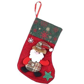 demiawaking fieltro Santa Claus Medias Calcetines Candy dulces bolsa de regalo calcetines de copos de nieve árbol de Navidad colgar adornos de Navidad año ...