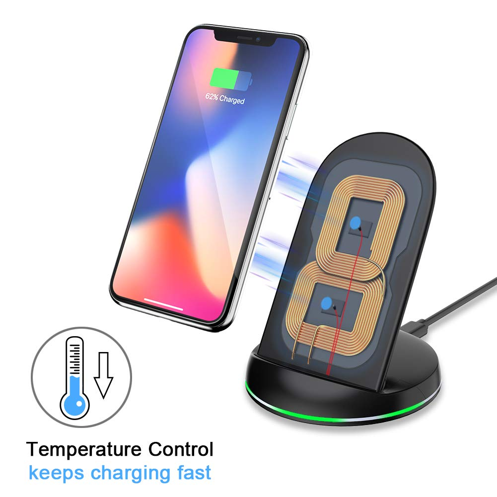 Yootech Wireless Charger Qi-Certified, 7.5W Wireless Charging Stand Compatible iPhone X/8/8 Plus,10W Compatible Galaxy S9/S9 Plus/Note8/S8/S8 Plus,5W All Qi-Enabled Phones(No AC Adapter) by yootech (Image #3)