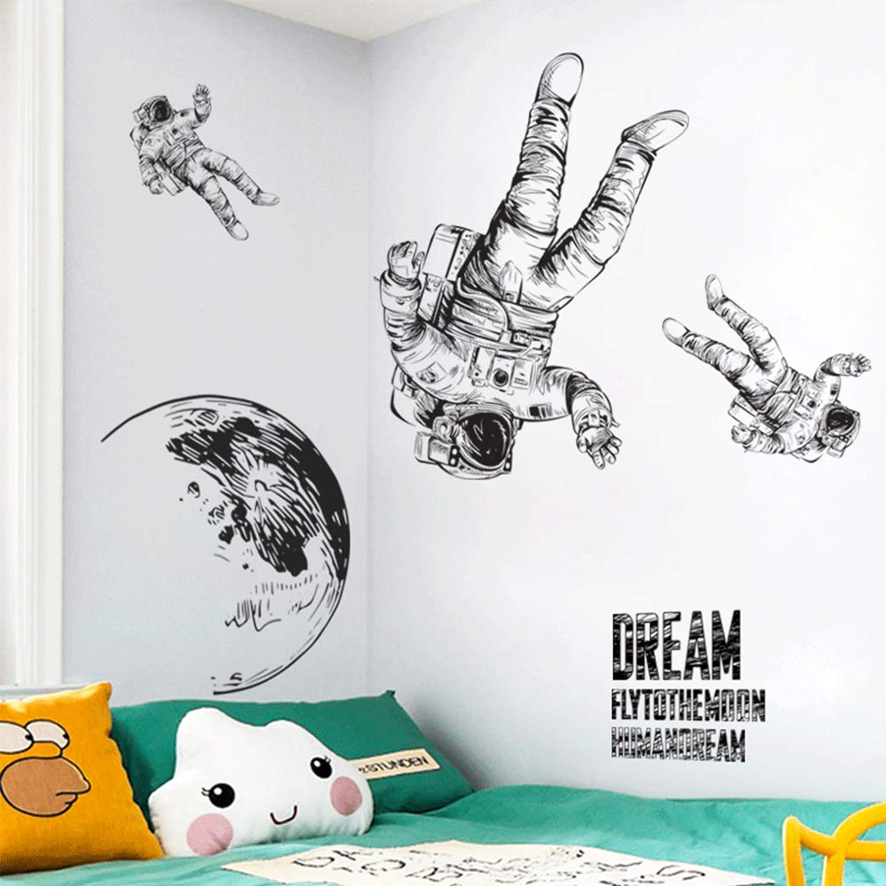 A EANUR Wall Stickers Space Astronaut Wall Decals Peel and Stick Removable Vinyl Decor Wall Art for Living Room BedroomClassroom Office Kids Rooms Boys Room