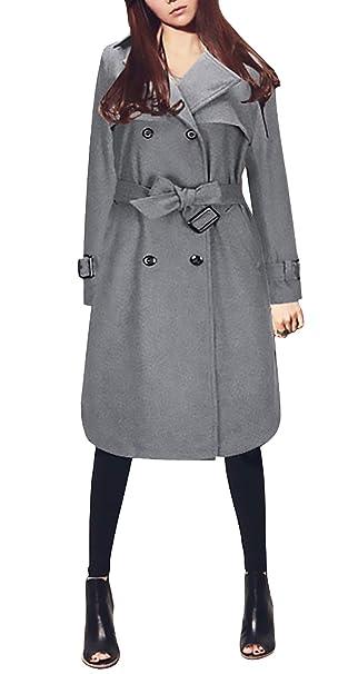 Abrigos Mujer Invierno Largos Moda Classic Doble Botonadura Gabardina Elegantes Ropa Vintage Manga Larga De Solapa Anchas Termica Abrigo Lana Outerwear ...