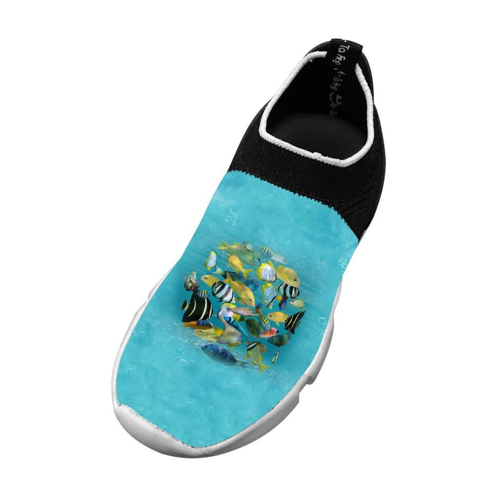M Sports Flywire Weaving Sneakers For Unisex Kids,Print Fish Round,4 B Us Big Kid
