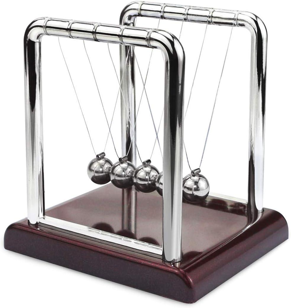 Oruuum Classic Newton Pendulum Ball - Brown Plastic Base, Balance Ball, Desktop Entertainment Gadgets – Small.