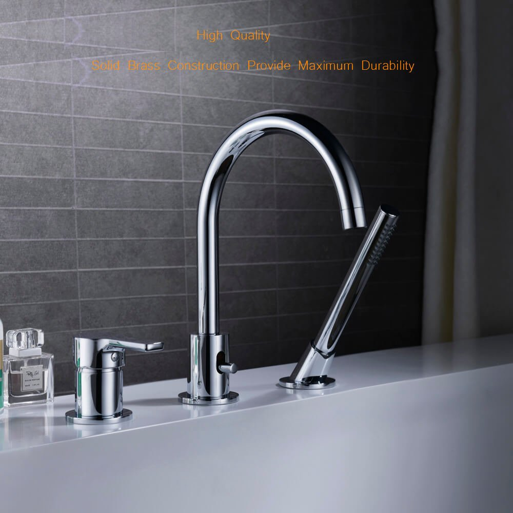 Bathtub Faucet With Pull Out Sprayer 3 Hole Widespread Tub Faucet ...
