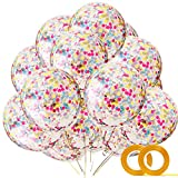 Rainbow Confetti Balloons - 20 Pack 12'' Colorful Confetti Pre-Filled Clear Balloon for Baby Shower Wedding 1st First Birthday Party Decorations