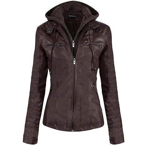 Newbestyle Jacke Damen Lederjacke Frauen mit Zip V Ausschnitt Kunstleder Bikerjacke Jacket Casual Übergangsjacke (Normale EU-