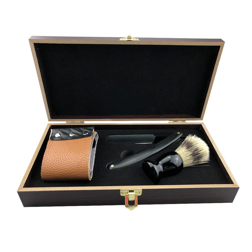 cut razor set classic collection vintage wooden box straight leather strop shaving brush face trimmer travel pouch present for mens grooming men traditional complete kit high-grade Comaie-123