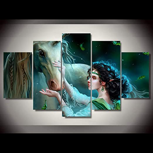5 Panel  Wall Art Scenic Picture Paint Printed on Canvas Horse