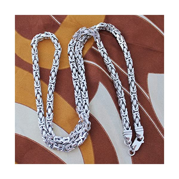 Sterling-Silver-6mm-Square-Byzantine-Heavy-Chain-Necklace-22-24-26-30