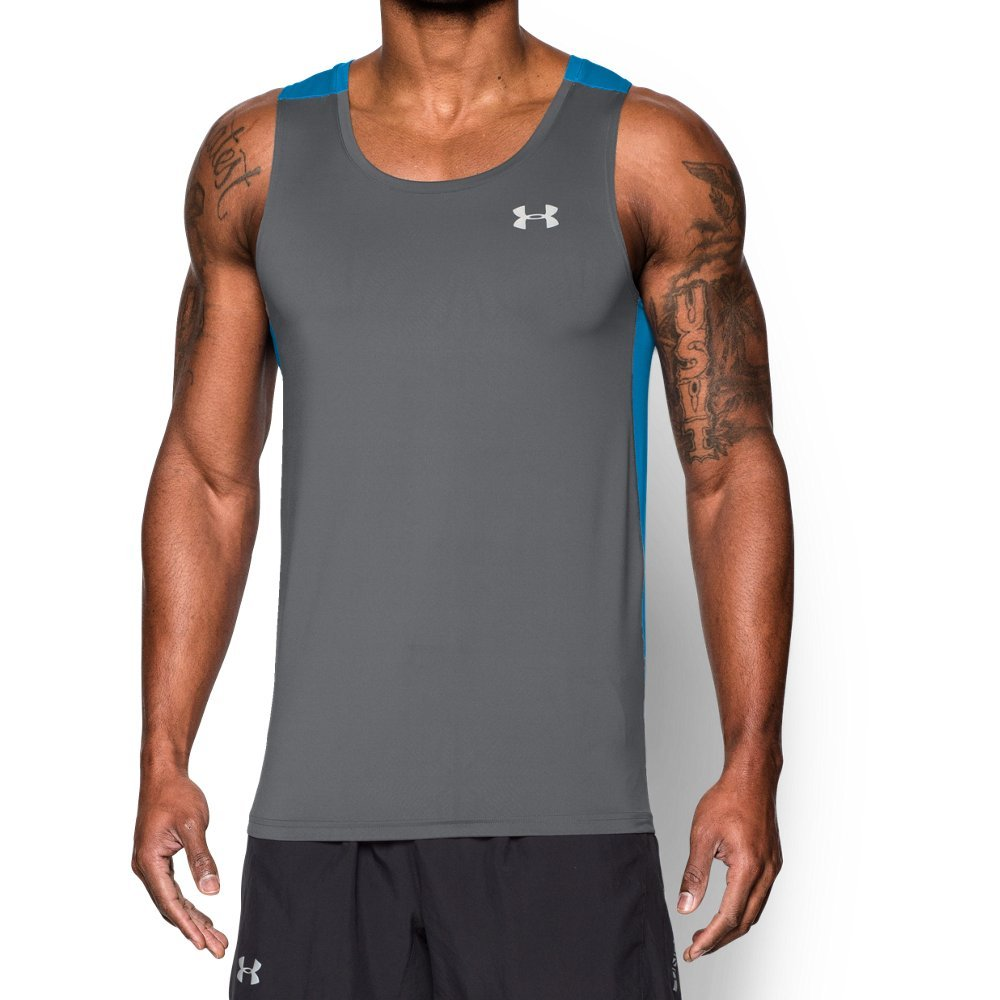 Under Armour Men's UA CoolSwitch Run Singlet Graphite/Electric Blue/Reflective Tank Top