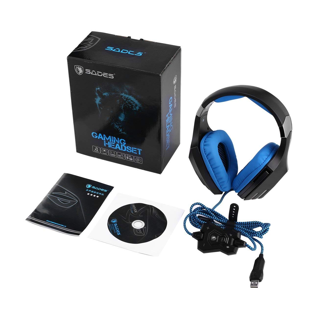 USB Gaming Headset Over Ear Headband Stereo Heaphones with Microphone Noise Isolating Volume Control LED Light