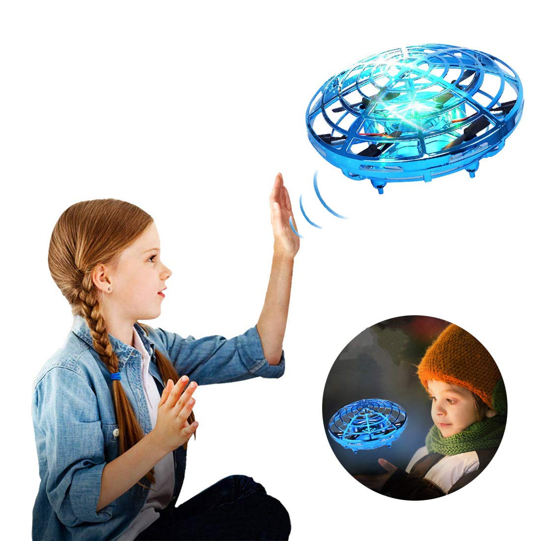 Hand Operated Drones for Kids or Adult, Mini Drone Flying Ball Toy, Scoot UFO Hand Free Infrared Sensing Drone Toys for Boys and Girls Holiday and Birthday Gifts