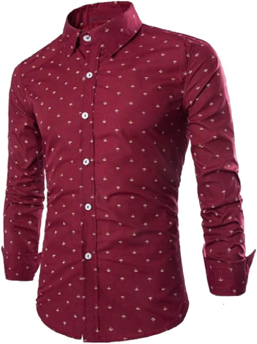 Cromoncent Men Slim Fit Casual Long Sleeve Anchor Print Button Down Shirts