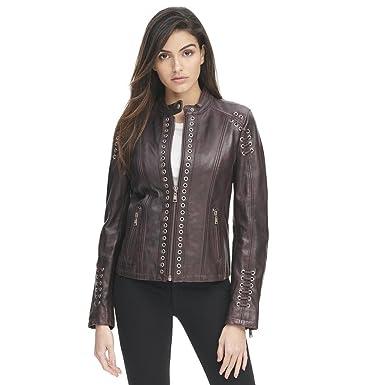 f44838dc2 Wilsons Leather Womens Grommet Placket Vintage Jacket W/Back Lacing