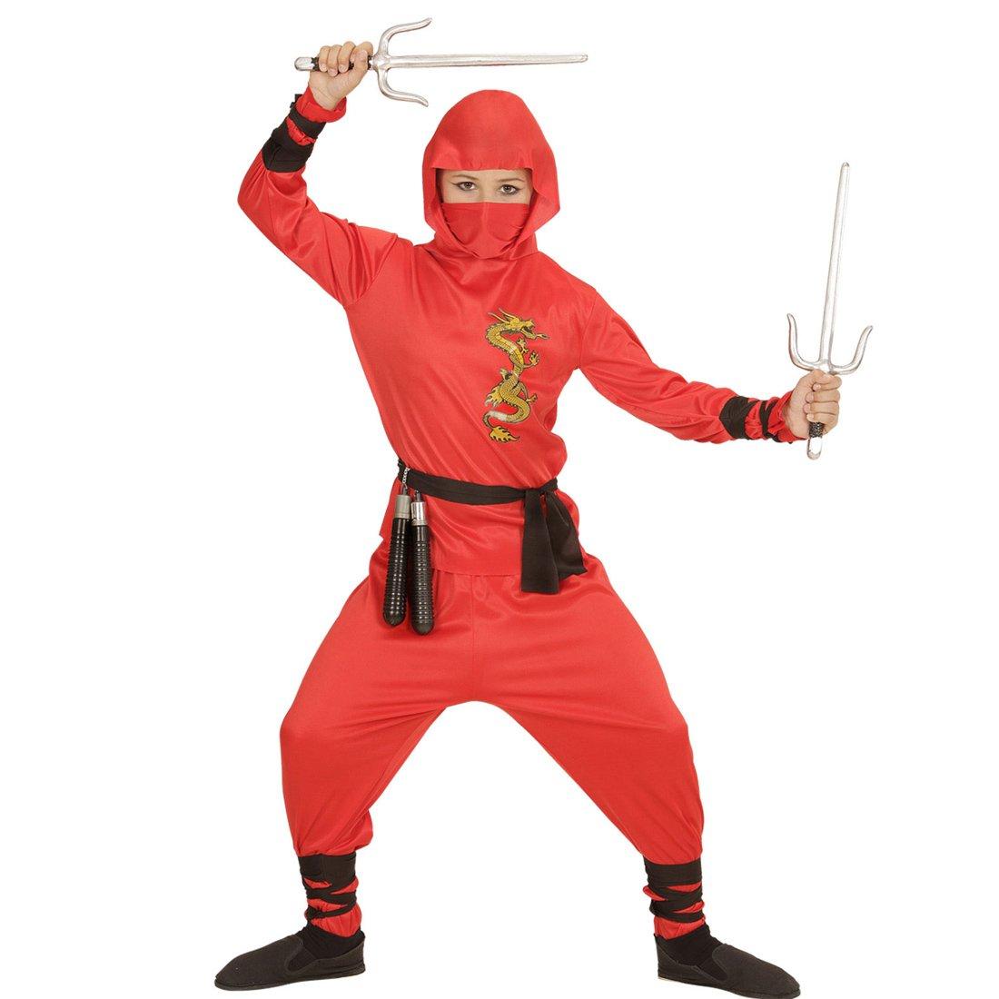 NET TOYS Traje Ninja Rojo para niño Atuendo Samurai M 140 cm ...