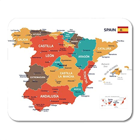 Map Of Spain Extremadura.Amazon Com Vankine Mouse Pads Blue Barcelona Of Spain Map Brown