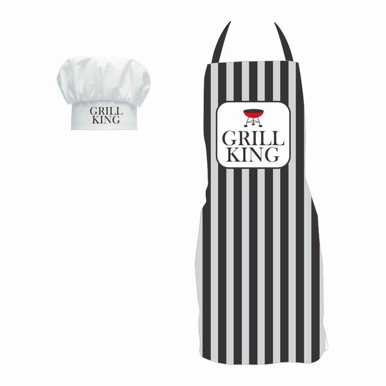 YaYa Cafe Gifts For Men Grill King Kitchen Chef Apron With Hat Birthday Anniversary Husband Boyfriend Amazonin