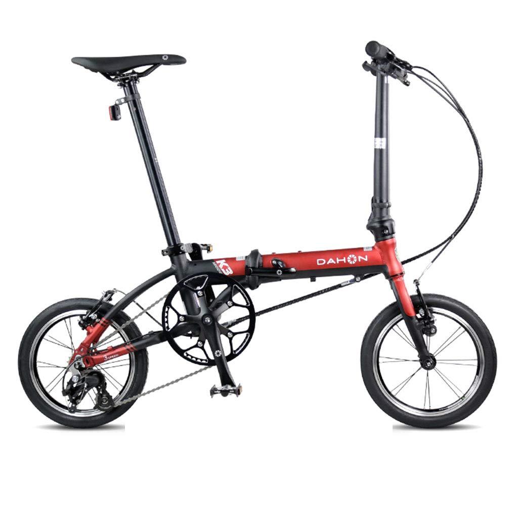 折りたたみ自転車 自転車折りたたみ自転車ユニセックス14インチ小型ホイール自転車ポータブル3スピード自転車 (Color : Red, Size : 120*34*91cm) 120*34*91cm Red B07JVJHPZN