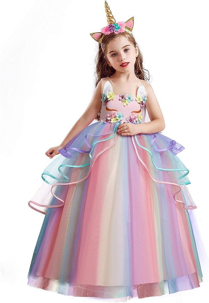 Flower Girls Unicorn Tutu Dress Princess Girls Birthday Party Dress Costume ZG