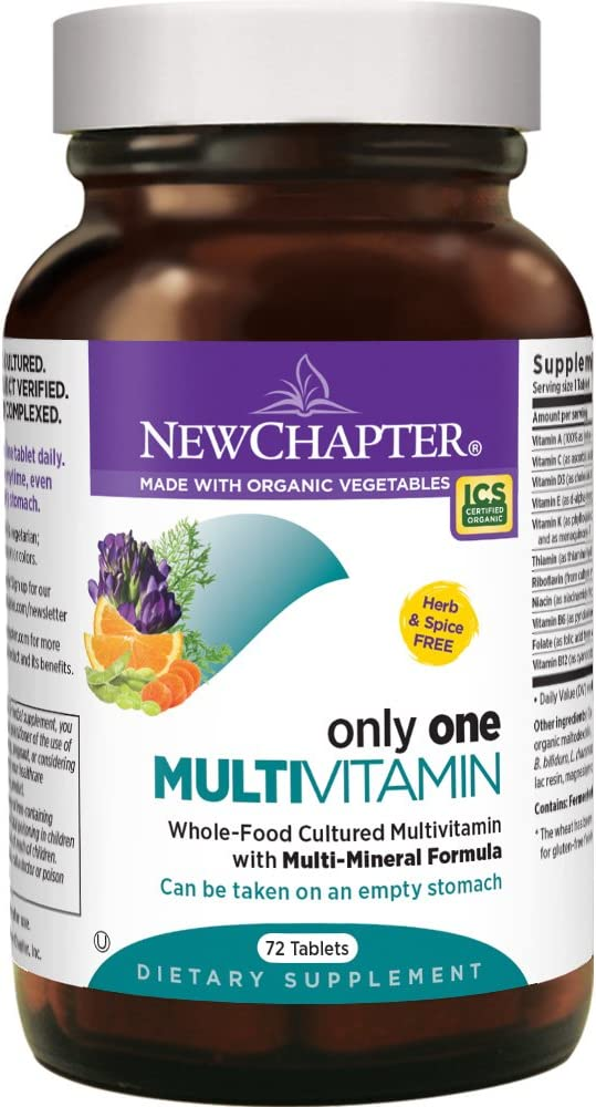 New Chapter Only One Multivitamin with Fermented Probiotics Wholefoods Vitamin D3 B Vitamins Organic Non-GMO Ingredients – 72 ct