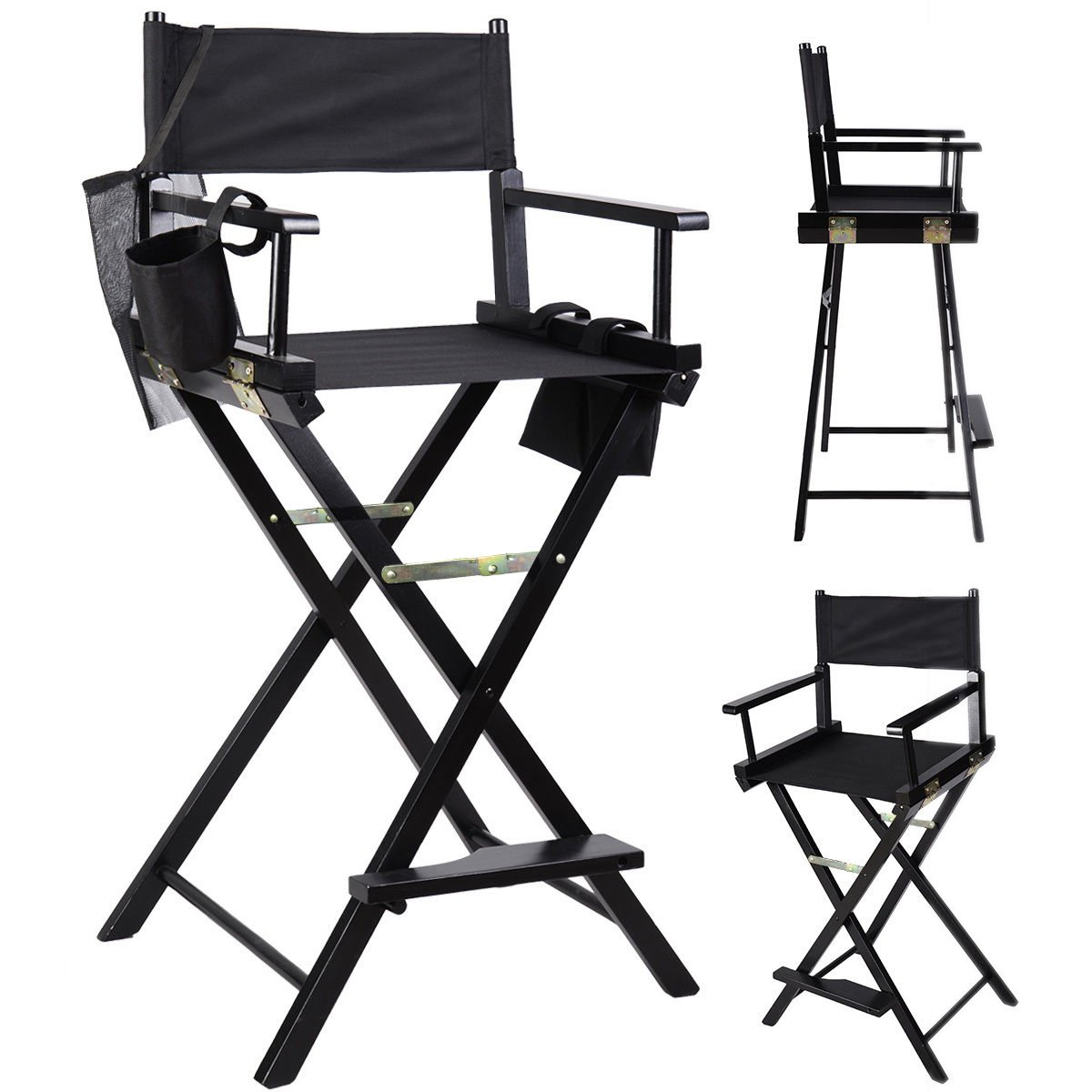 Amazon.com: Professional Makeup Artist Directors Chair Wood Light Weight  Foldable Black New: Kitchen U0026 Dining