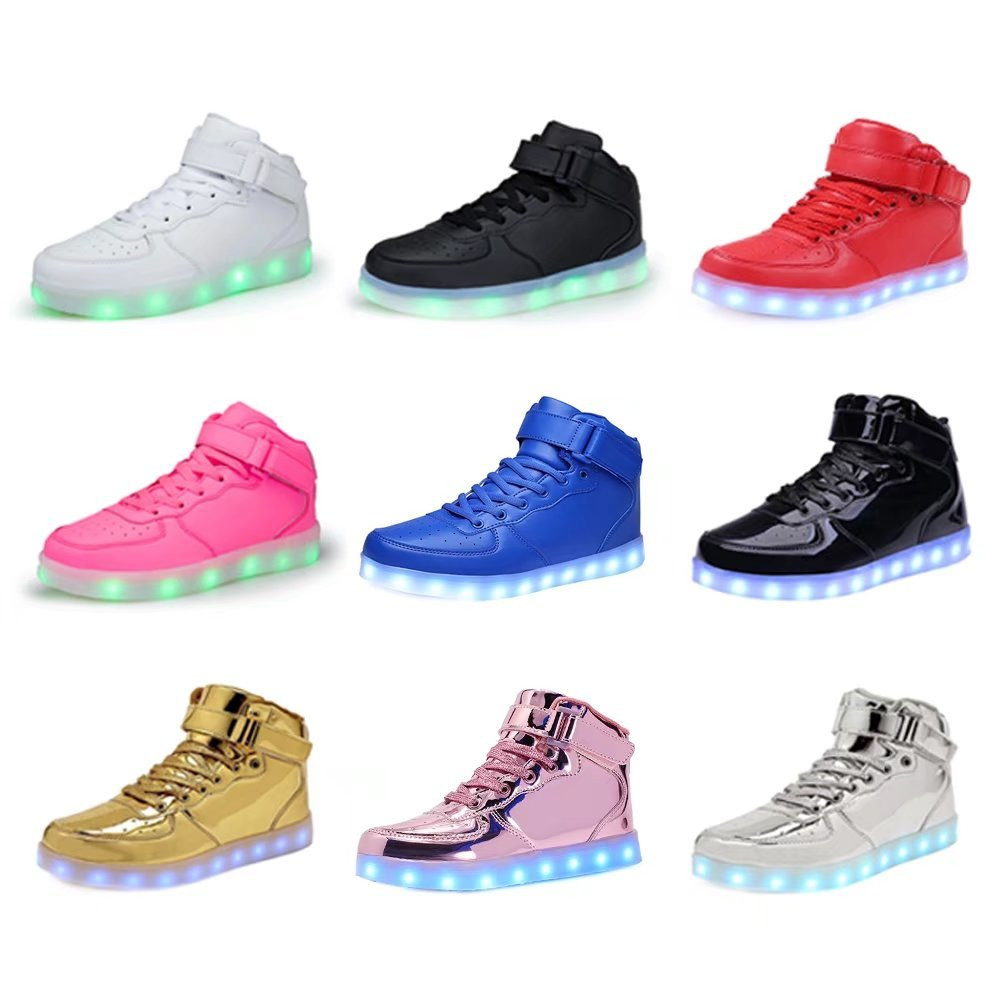WONZOM FASHION High Top Velcro LED Light Up Shoes 7 Colors USB Flashing Rechargeable Walking Sneakers For Kids Boots With Remote Control(Toddler/Little Kids/Big Kids)-34(Shining Pink) by WONZOM FASHION (Image #7)